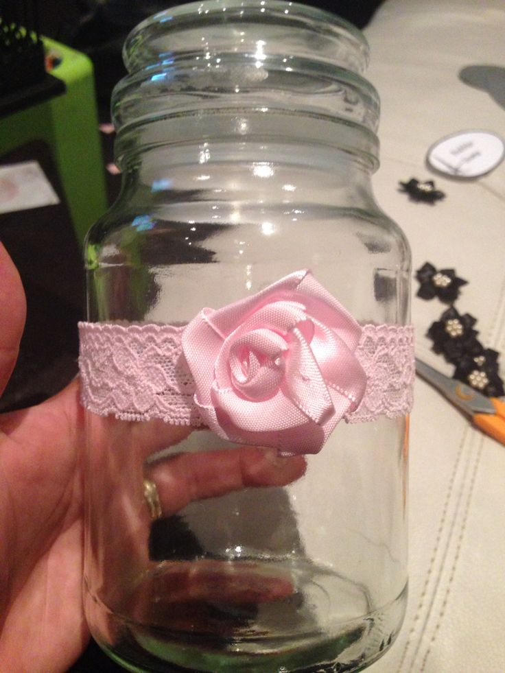 Pink lace on sweet jar