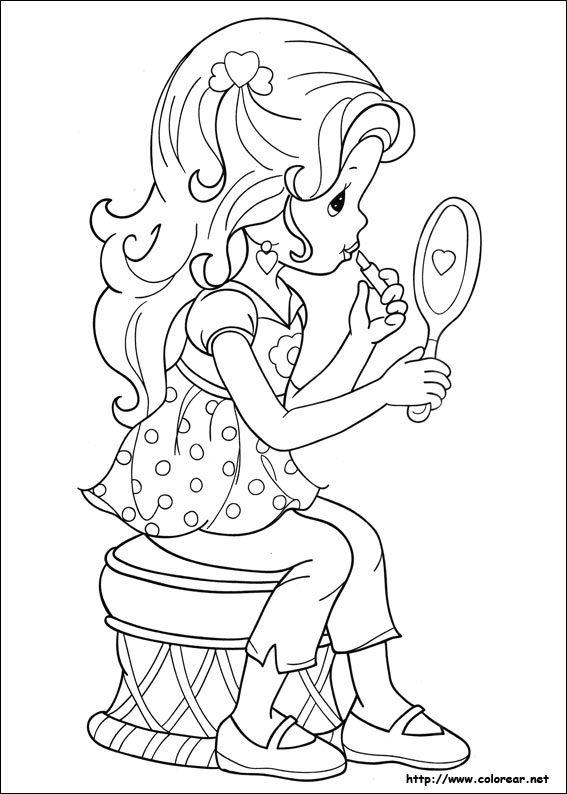 Precious Moments girl makeup lipstick mirror coloring page. | art ...