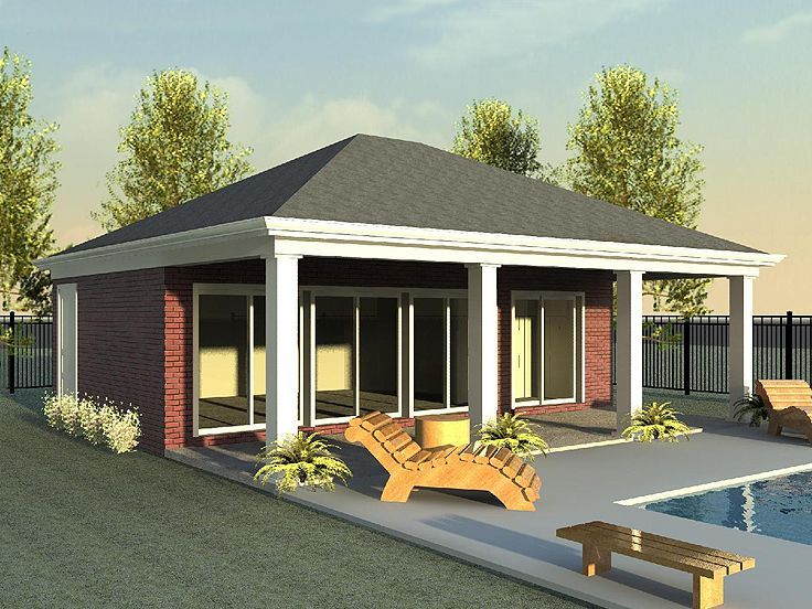 006H 0018: Pool House Plan With Kitchen And Covered Porch