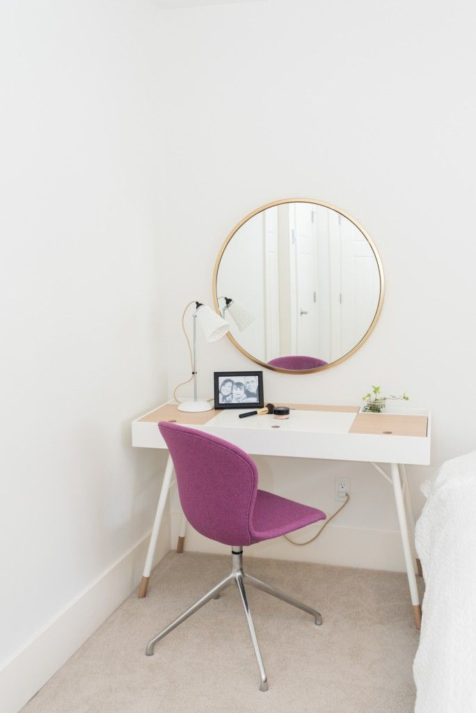 Our favourite Cupertino desk with a funky lux felt purple Adelaide chair