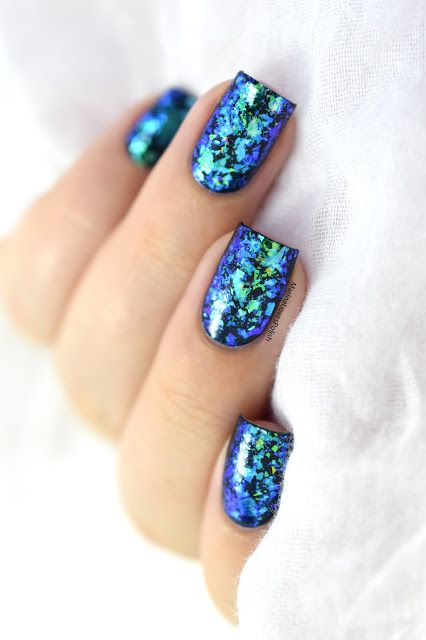 Marine Loves Polish: Mermaid nails with What's Up Nails Breeze Flakies [VIDEO TUTORIAL] - iridescent flakies nail art