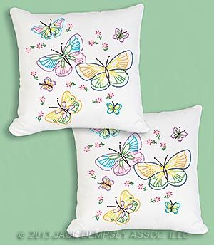 Embroidery Pillow Cover, Fluttering Butterflies pattern | Jack Dempsey Needle Art