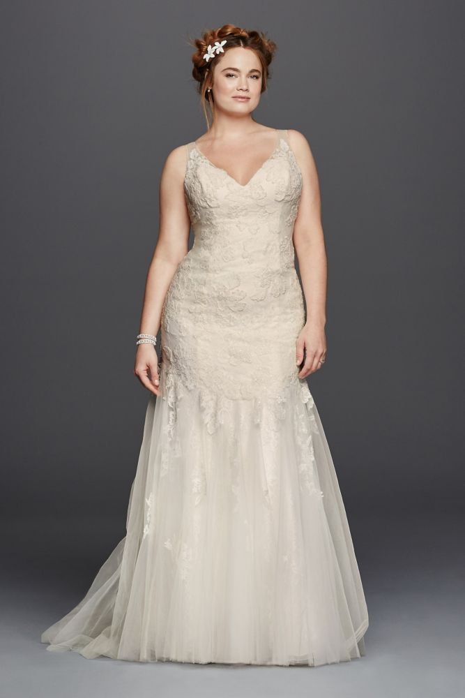 Extra Length Lace Plus Size Melissa Sweet Illusion V-Neckline Wedding Dress - Ivory, 24W