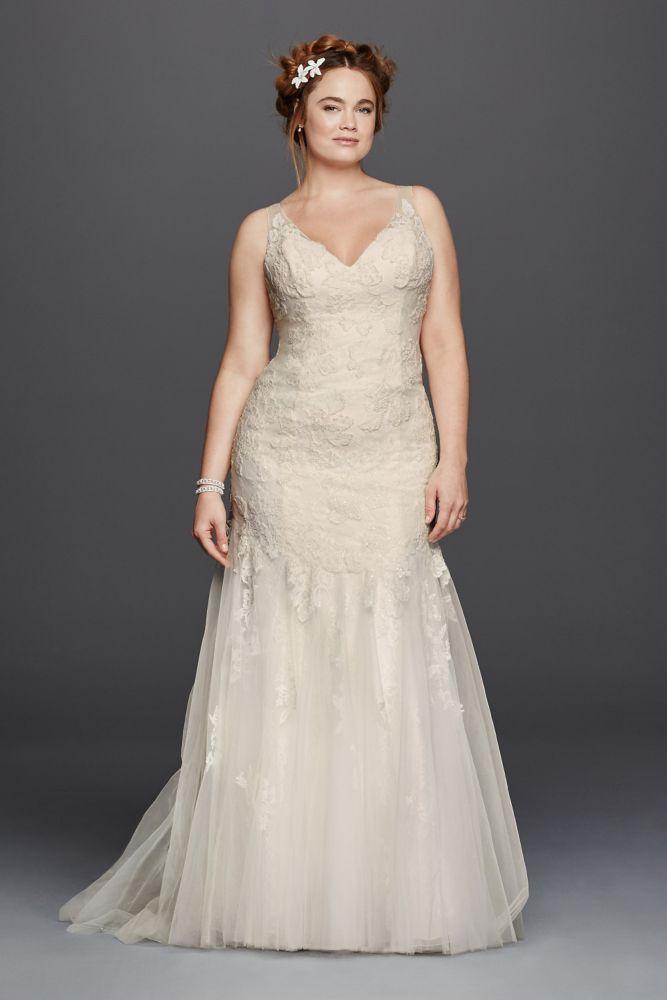 Extra Length Lace Plus Size Melissa Sweet Illusion V-Neckline Wedding Dress - Ivory, 24W