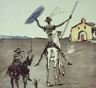 In the early 1960s Dali was commissioned by the Swiss publisher Jean Schneider (Basel) to produce a print edition based on historically interesting Spanish figures, both real and fictious; five figures chosen were: Cervantes , Don Quixote, El Cid, El Greco and Velasquez. In 1965, Schneider published the edition, titled Five Spanish Immortals. The prints, original etchings, were printed in a total editio of 180 examples on two diffrent papers, Rives (in sepia ink) and Japon (in black ink).