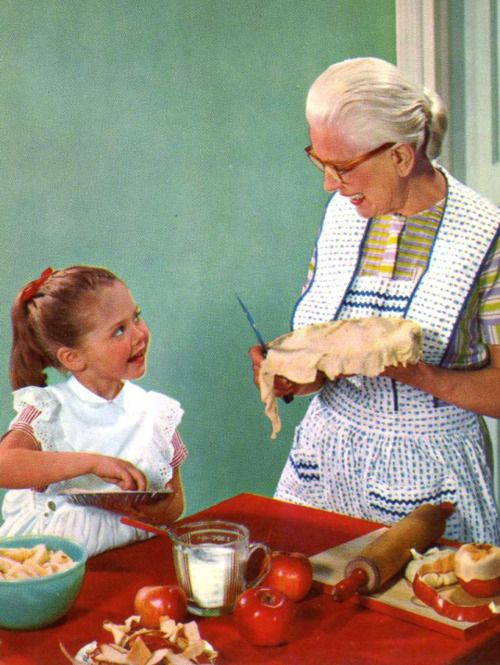Baking an apple pie with Grannie1950s.  My grandmother who lived with us was a very good baker.  I would come home from school to the wonderful smell of baking cinnamon rolls, etc.