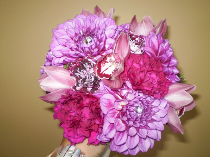 Bouquet for Keri with Local Dahlias. Designed by Olive Lane