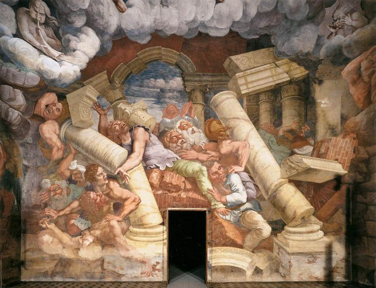A small formal building decorated with violent scenes looking forward to the Barroque in Feeling, MVV. ( The interaction is dramatic to the point of eccentricity) Giulio Romano, Sala dei Giganti, 1530, Palazzo del Te, Mantua