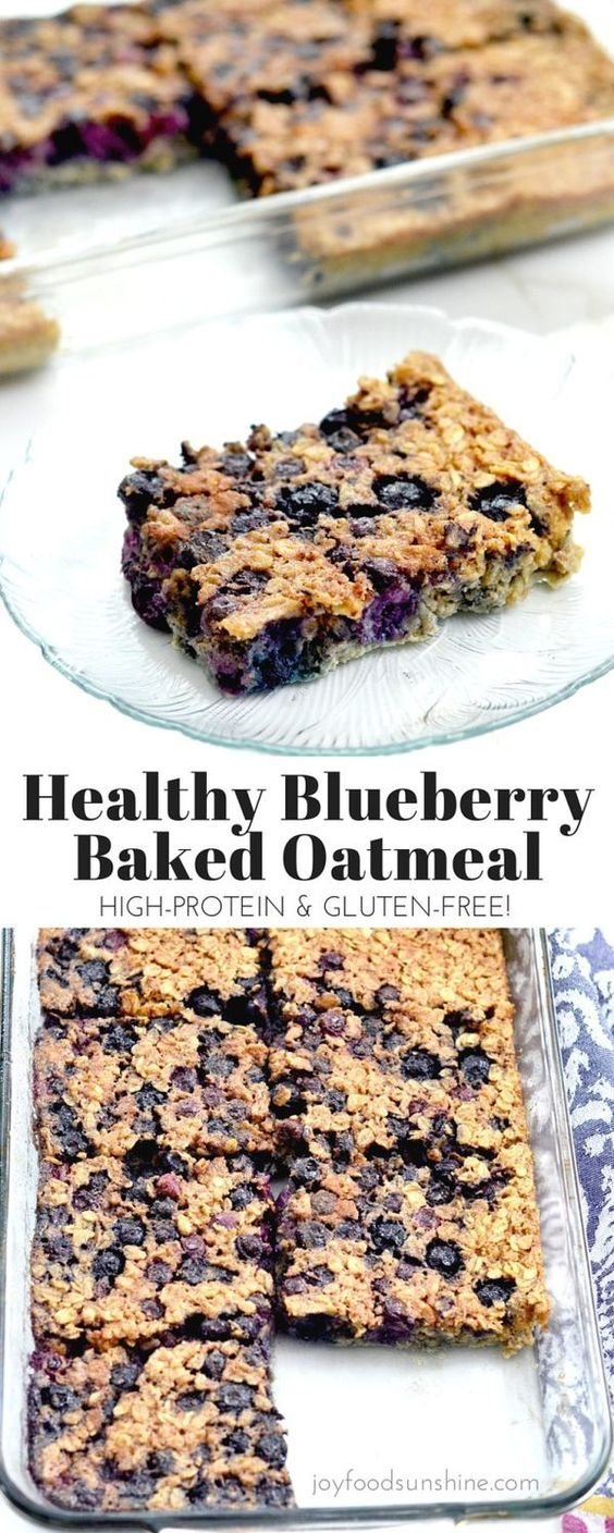 Baked blueberry oatmeal recipe! The addition of Greek yogurt and almond meal make this a healthy and protein-rich breakfast! Plus it's gluten-free refined-sugar free and feeds a crowd!