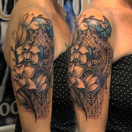 Lace sleeve tattoo google tattoos pinterest for Lace half sleeve tattoo