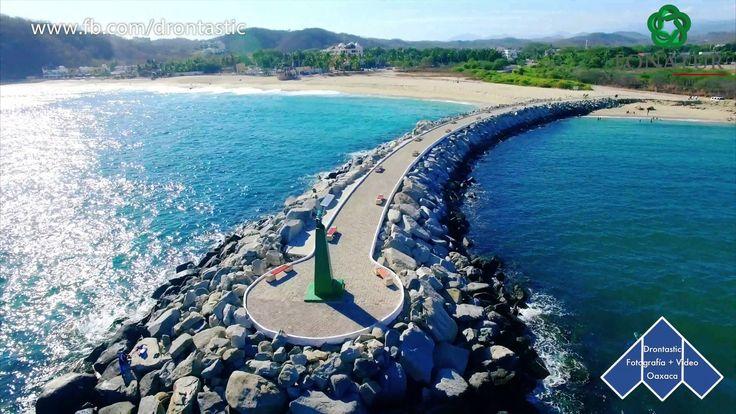 Bahía Chahué certificada con Blue Flag, Dron en las playas de Huatulco Oaxaca México - YouTube