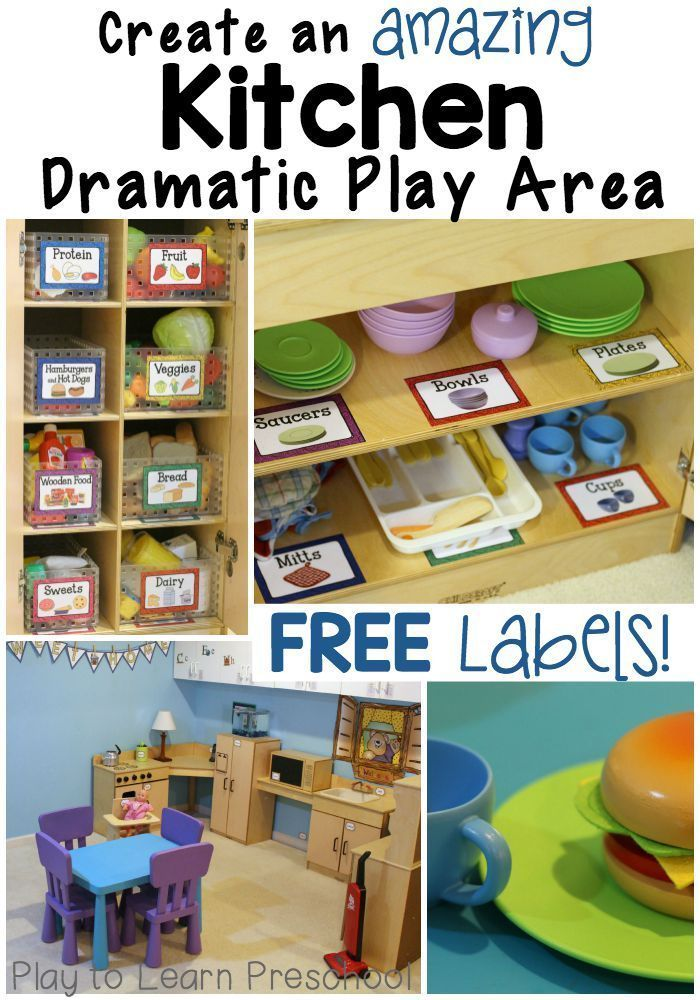Cool ideas for imaginative kitchen play with free labels.