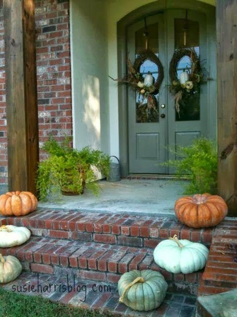 Pretty Fall Doorstep And Double Door Wreaths