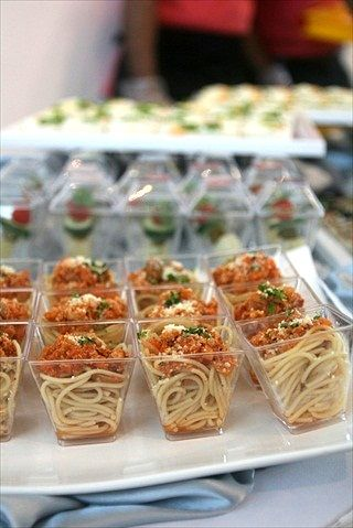 Mini spaghetti for the wedding cocktail hour!