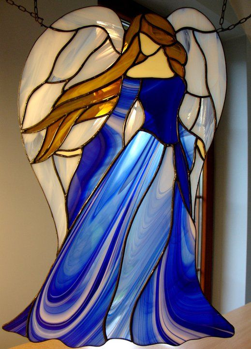 Blue Lady with angel wings, stained glass - picture only