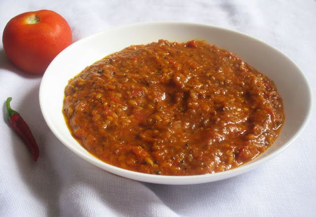 Velvety South Indian Tomato Chutney. Smooth, spicy south Indian style tomato chutney suitable for serving with pasta, burgers or Indian savories.