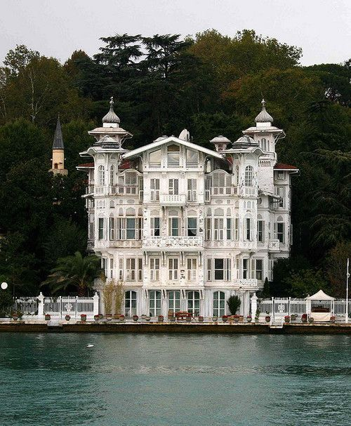 Lakeside house - so many gorgeous villas like this on the Bosphorus in Istanbul, Turkey. Turkey straddles the Bosporus Straits and is a Eurasian country; it bridges the continents of Europe and Asia.