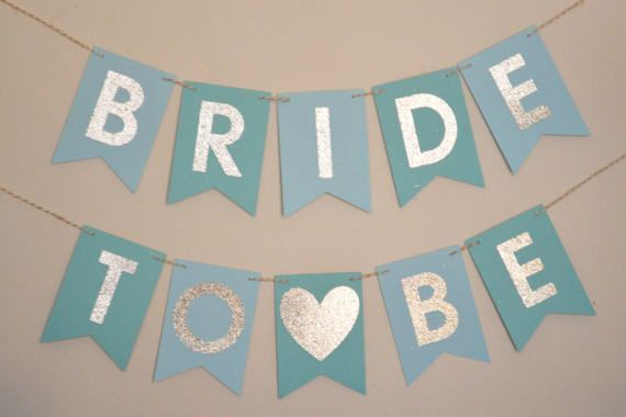 Bride To Be Banner is perfect for your upcoming bridal shower, bachelorette party, or anytime you need a little sparkle in your life. ►MATERIALS: Banner flags are cut from quality 65lb cardstock. Letters are cut from low-shed, thick glitter cardstock. Banner comes pre-strung on white &