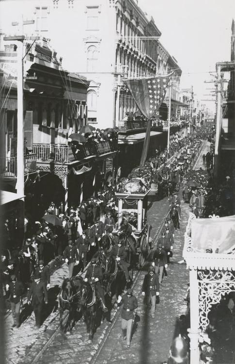 Confederate President Jefferson Davis's funeral procession - Royal Street, New Orleans, December 1889.