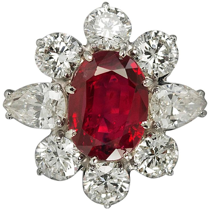 Gubelin Certified 5.19 Carat No Heat Burma Ruby Diamond Ring   From a unique collection of vintage more rings at https://www.1stdibs.com/jewelry/rings/more-rings/
