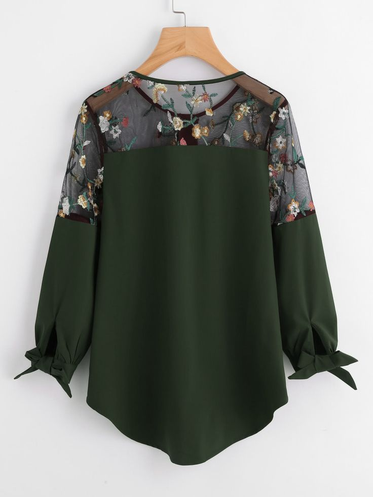 Blusa asimétrica con bordado de encaje con lazo para atar -Spanish SheIn(Sheinside)