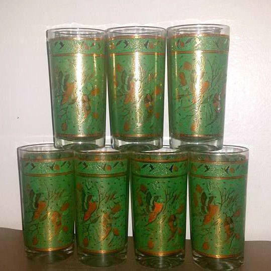 Mid Century Gold Highball Glass,Set of 7,Barware,Gold Cocktail Glasses,Green,Gold,Highball Glass,Mad Men, MCM, Pheasants,Pine Cones,1960s http://etsy.me/2C9thnX #housewares #green #housewarming  #gold #glass #highballglass #barware #vintagebarware