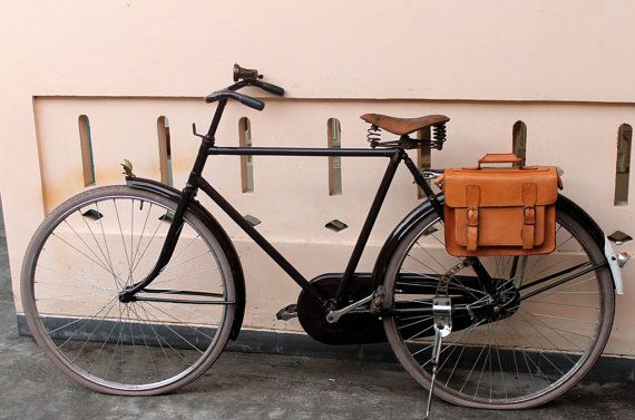 Handmade brown traditional veg tanned leather bicycle rear pannier/rear rack…