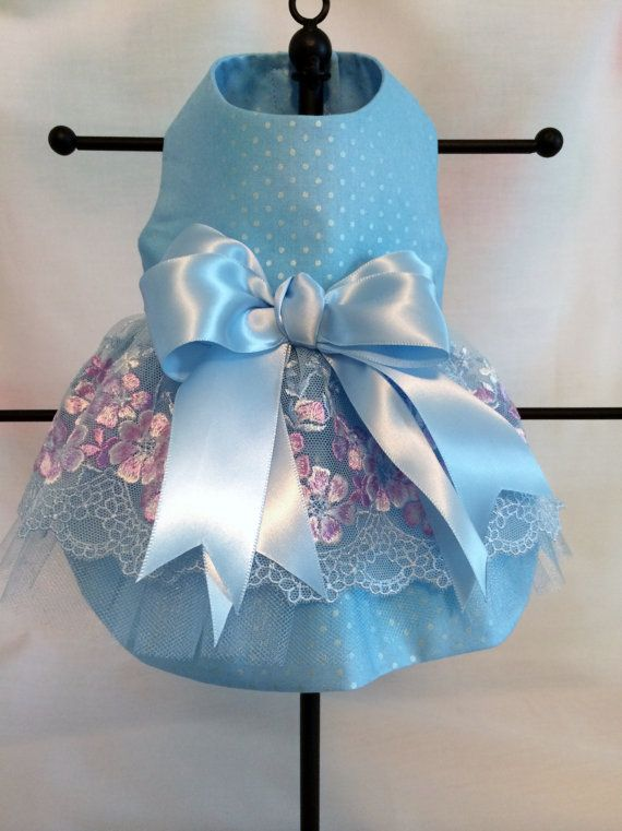 Light Blue & Lilac Embroidered Tulle Dress for by princessamee, $50.00