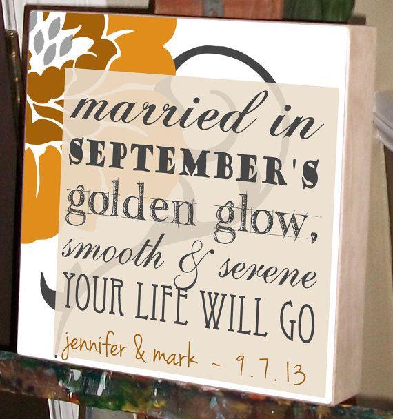 September Wedding Personalized Wedding Gift by ChocolateMooseHome, $65.00