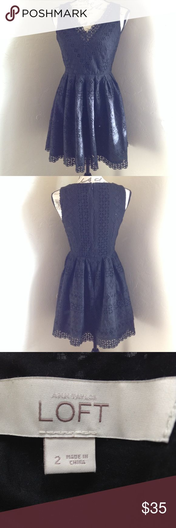 Black Ann Taylor LOFT Dress Size 2 dress made with 100% cotton. In great used condition!  Black crochet/lace fabric. LOFT Dresses