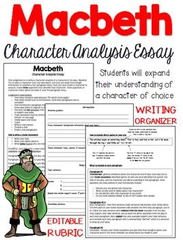Your students have just finished reading Macbeth. Now what? Are you looking for a writing activity that involves in-depth character analysis? This essay assignment gives students the opportunity to write about a character of choice within the play, and provide some background details and inquiry.