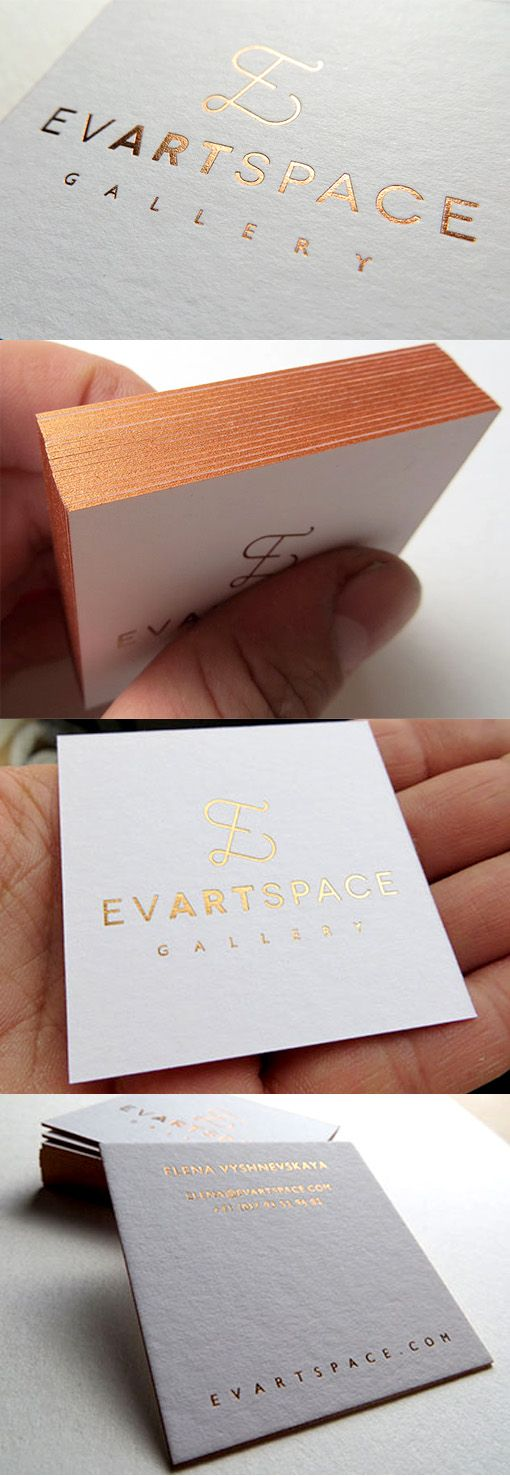 Elegant Metallic Foil Edge Painted Letterpress Business Card For A Gallery