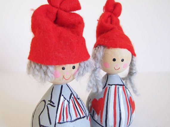 Swedish Christmas Gnomes Hand Painted Vintage Dolls // Swedish