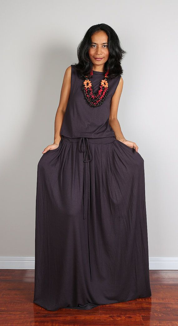 Grey Maxi Dress Sleeveless dress : Autumn Thrills by Nuichan