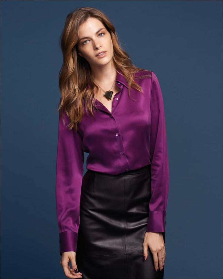 Women 39 s silk blouses and shirts ladies silk shirts for Red leather shirt for womens
