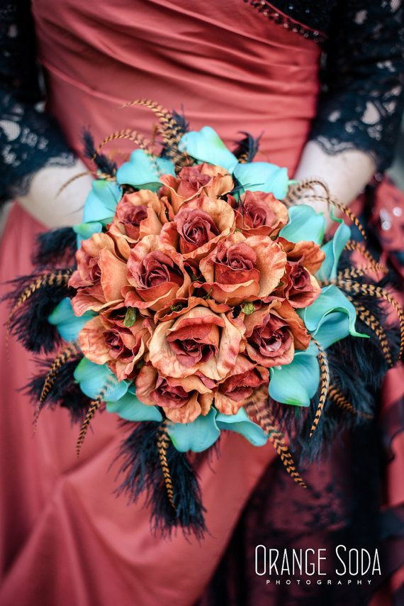 Burnt Orange teal bridal bouquet teal calla lily by DressMyWedding