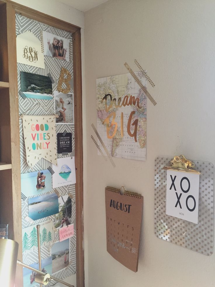 Dorm Room Wall Decor: Freshman Dorm Bulletin Board & Wall Decor // Texas Tech
