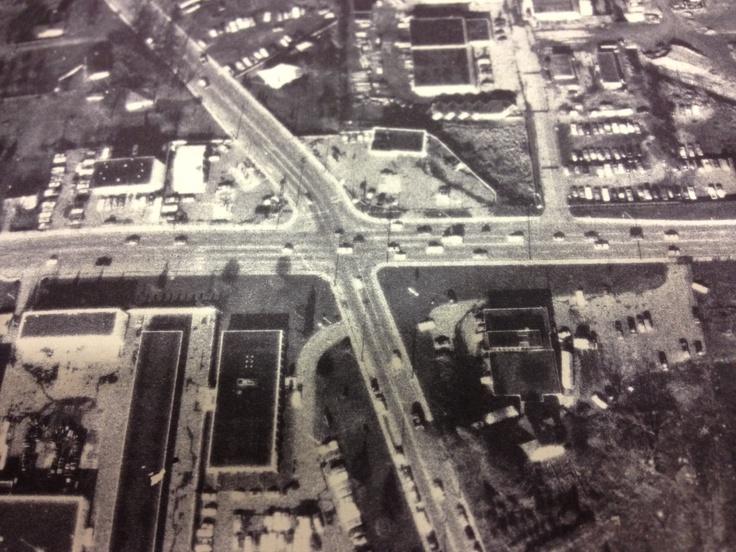 1974 Arial Photo of Quadra and McKenzie Street area. The Corners include: Lake Hill Texaco (North West Corner) Esso (North East Corner) BC Tel Building (South East Corner) Carrigan's Lake Hill Drugs (South West Corner)