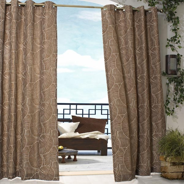 Outdoor Decor Belize Outdoor Curtains with Grommets    These outdoor heavy weight curtains feature an oversize palm leaf pattern. Exceptionally easy to use with eight (8) silver grommets fitted near each curtain's upper edge, for slipping over a stationary curtain rod.