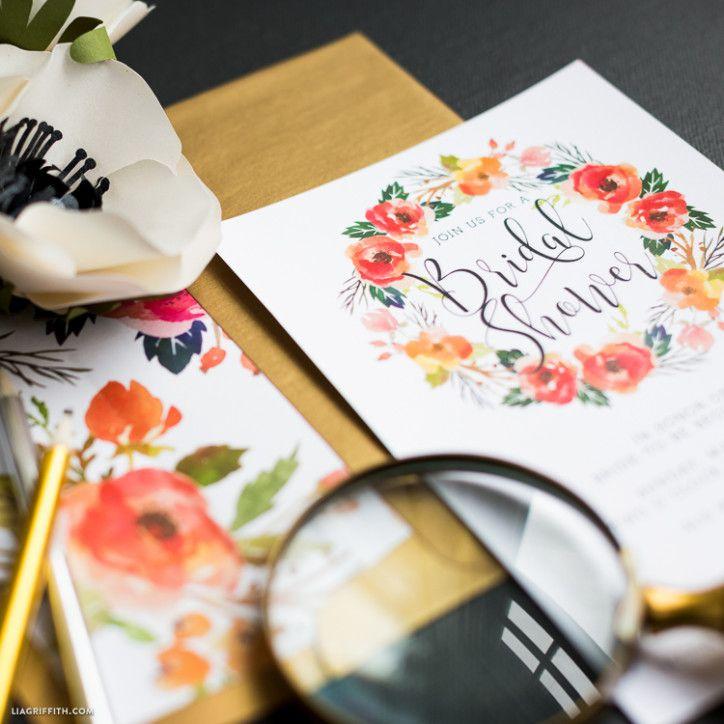 Watercolor Wreath Bridal Shower Invitations 20 best