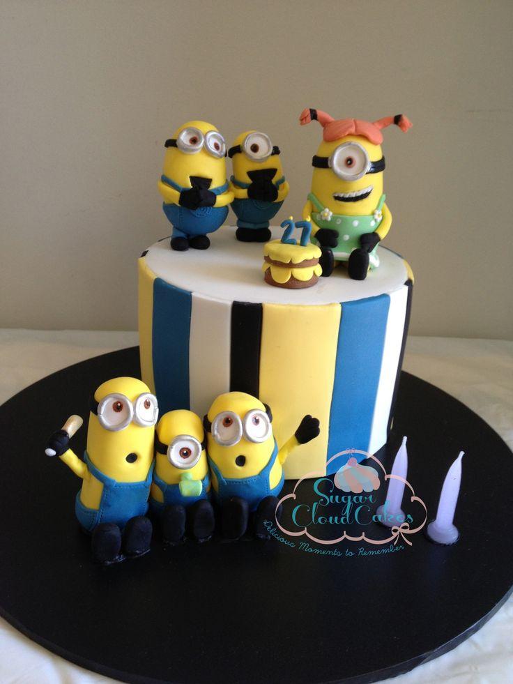 Minion cakes, minion figurines, mocha marble cake by http://sugarcloudcakes.com.au