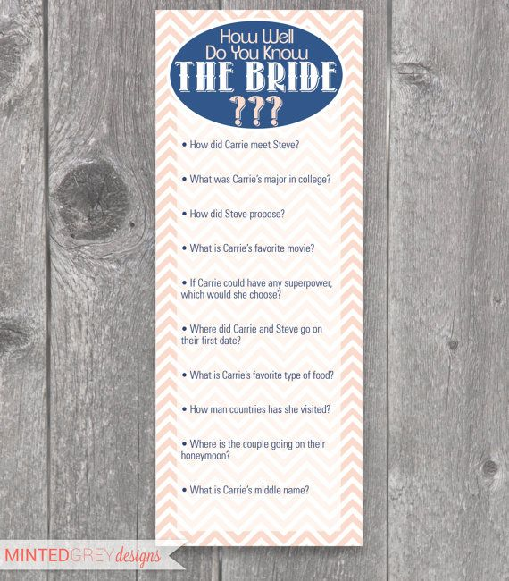 Printable Chevron Bridal Shower Game via Etsy