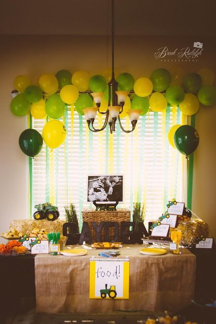 John Deere Themed Birthday Party Do on the outside (backporch) window for backdrop for food