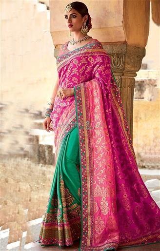 Stunning Pink Silk Jacket Pink And Green Half And Half Silk Sari     #HalfSarees #DesignerHalfSarees #HalfSareesDesigns #HalfSareesDesigns #EmbroideredSarees #EmbroideredSareesPatterns #DesignersAndYou #DesignerSarees #HeavyHalfSarees #TopHalfSarees #HalfSarees2017BestHalfSarees #BeautifulHalfSarees #HalfSareesDesign #HalfSareesPattern