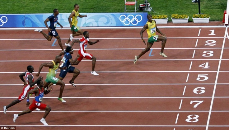 Usain Bolt 2008 Beijing, China. Olympic 100m final. Bolt demolishes his competitors on his way to a world and Olympic record 9.69 sec.