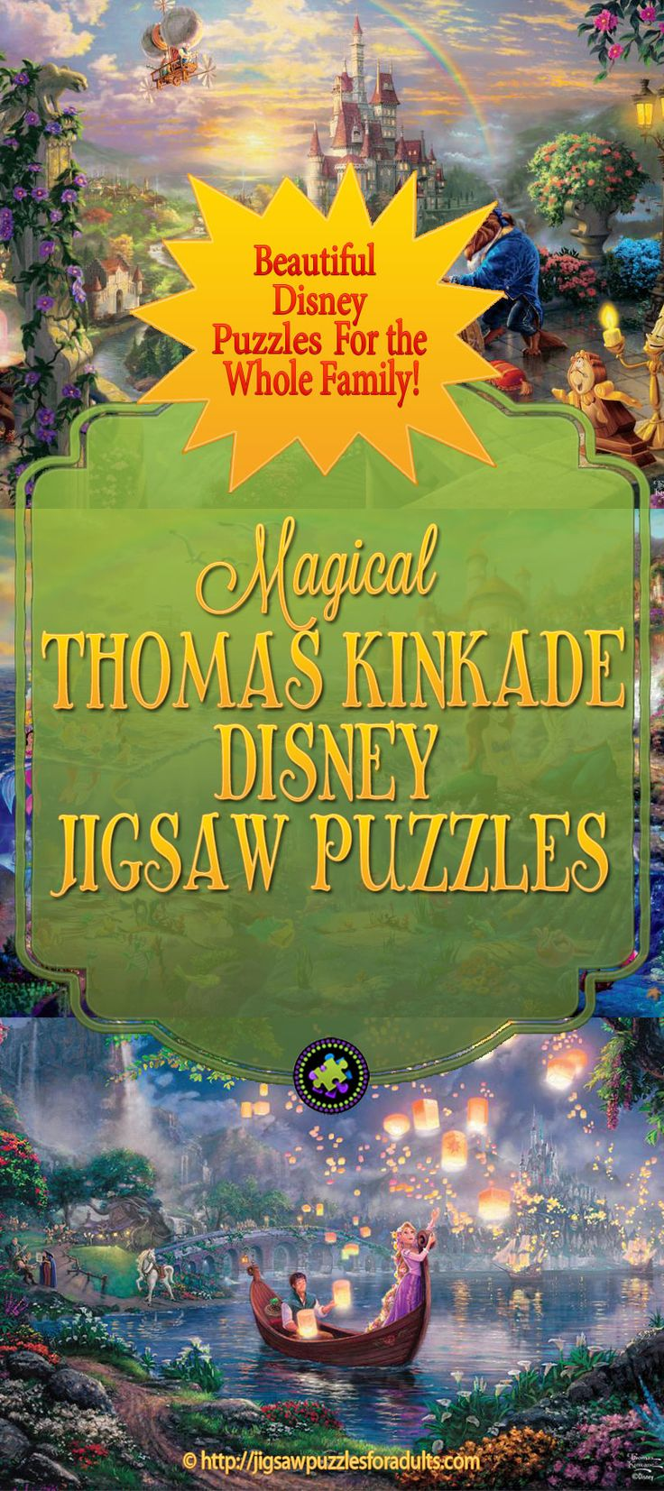 "These Thomas Kinkade Disney Puzzles are totally enchanting? You'll find plenty of absolutely beautiful Disney Puzzles of all your favorite characters from Thomas Kinkade's art. So whether you're a fan of ""The Painter of Light"" Thomas Kinkade or you just simply love Disney films, you'll be delighted with this large selection of Disney Jigsaw Puzzles."