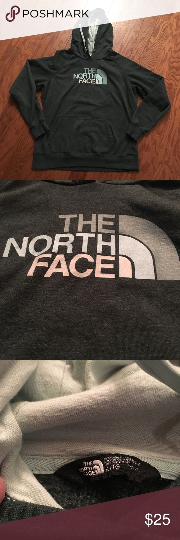 North Face hoodie North Face logo hoodie, dark green with light green lined hood. The North Face Tops Sweatshirts & Hoodies