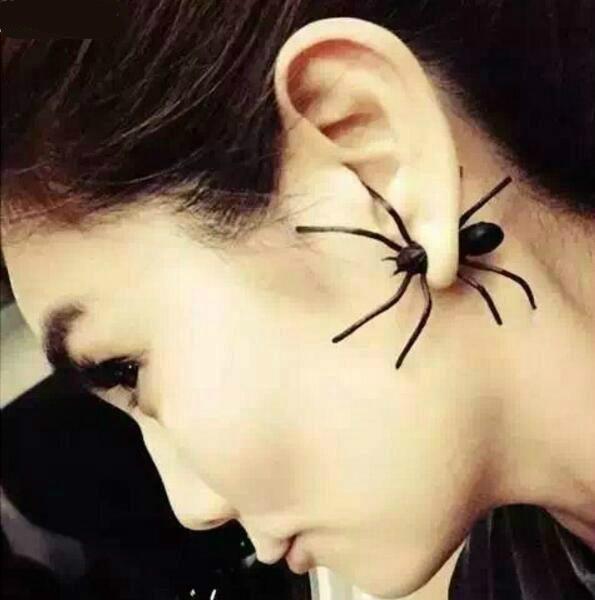 Ohrstecker Spinne schwarz Halloween Ohrhänger Fake Punk Spider Vintage Gothic