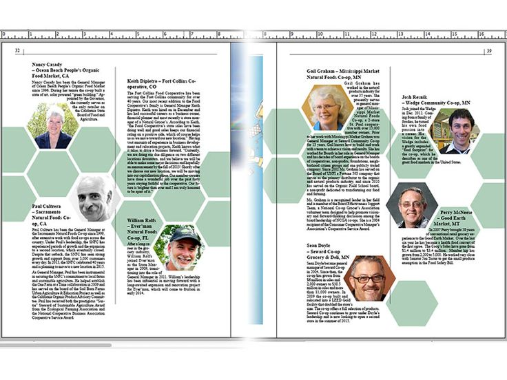 In Progress Honeycomb publication / magazine Layout for the National Co-op Directory 2014