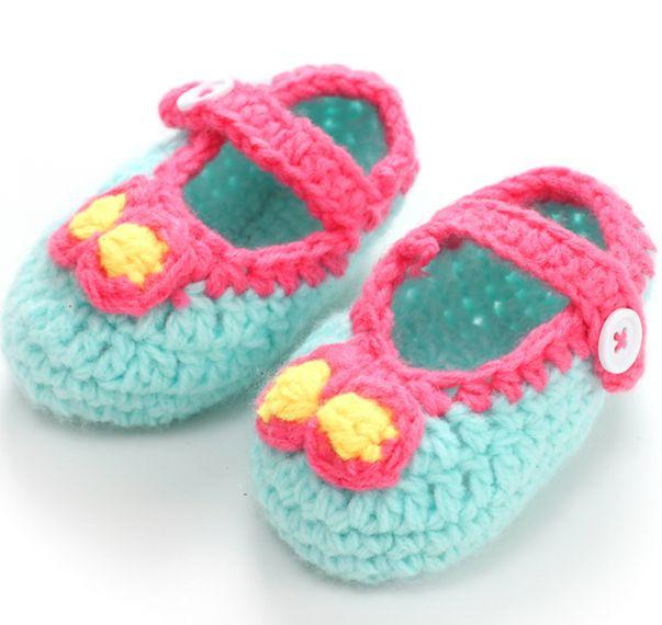 W60291V 2015 mão Bonito crochet sapatos de bebê Moda crochet sapatas de bebê sapatas das meninas do bebê Flor de crochê